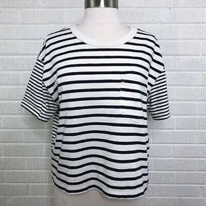 Madewell Easy Crop Tee in Mix Stripe, Size XS